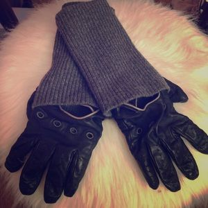 Henri Bendel leather/ cashmere gloves